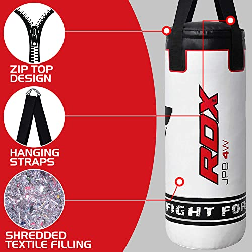 PDX SPORTS JP Filled Heavy 2FT Kids Punching Bag Ceiling Hook Set Kick Boxing Gloves