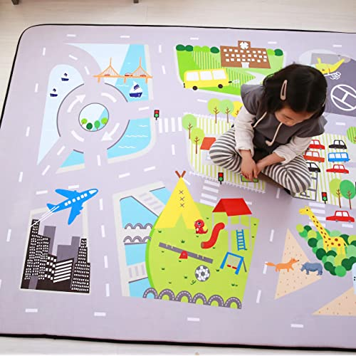 CARPETIA Carpet Childrens rug road rug with streets and houses gray size 80x150 cm