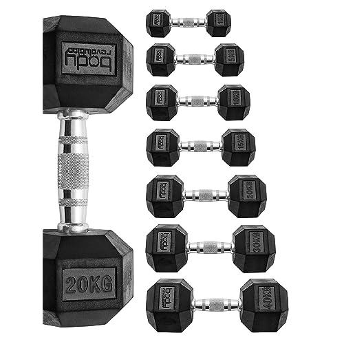 40kg Hex Rubber Dumbbells Sets Gym Fitness Hexagonal Dumbbell Weights 1kg