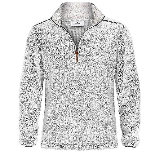 Bnokifin Mens Winter 1//4 Zip Sherpa Pullover Sweater Stand Collar Fluffy Fleece Jacket with Pockets