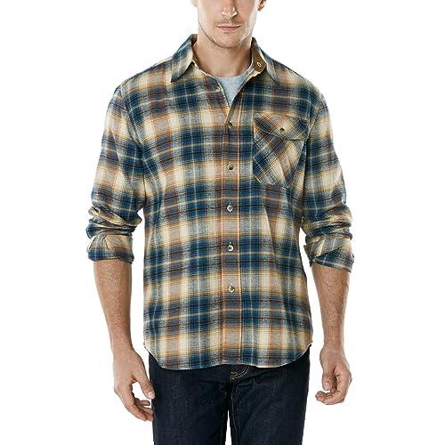 b95ec09e236 Buy CQR Men's Flannel Long Sleeved Button-Up Plaid 100% Cotton ...