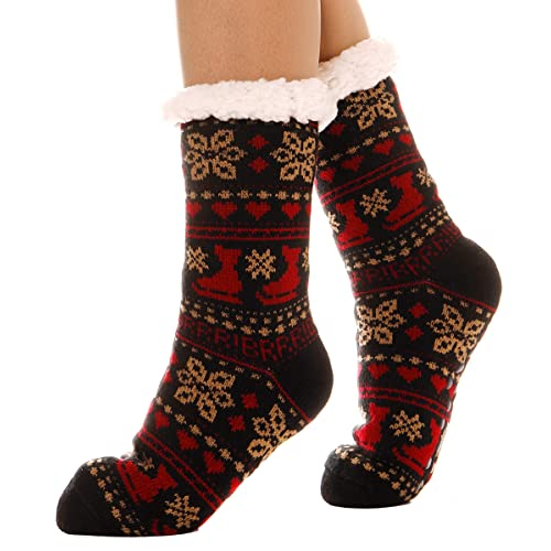 Womens Slipper Socks Fuzzy Warm Thick Heavy Fleece lined Christmas Stockings Fluffy Winter Socks With Grippers