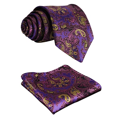 BIYINI Mens Tie Floral Paisley Necktie and Pocket Square Set for Wedding Party