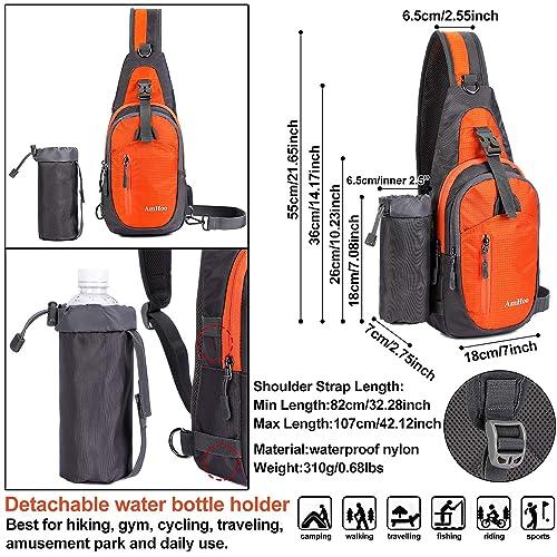 AmHoo Sling Backpack Chest Shoudler Crossbody Bag Waterproof Hiking Daypack for