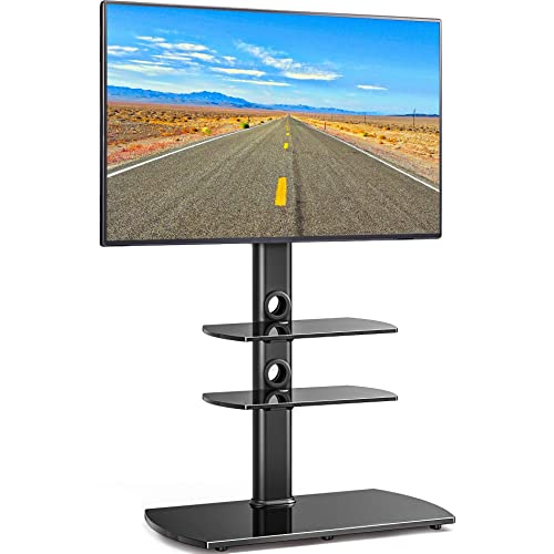 gaixample.org FITUEYES Cantilever TV Stand with Swivel Mount,Glass ...