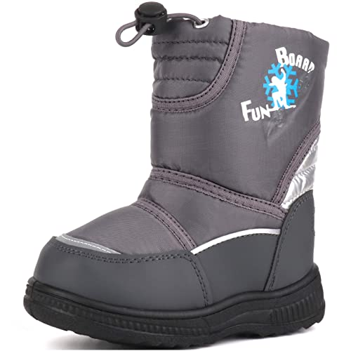 Femizee Toddler Girls Boys Winter Snow Boots Outdoor Waterproof Fur Lined Booties