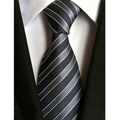 New Classic Solid Checks Gray JACQUARD WOVEN 100/% Silk Men/'s Tie Necktie