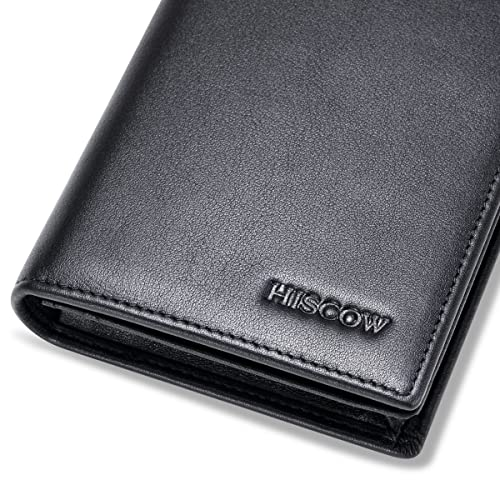 HISCOW Men/'s Trifold Wallet Italian Genuine Leather with 9 Credit Card Slots