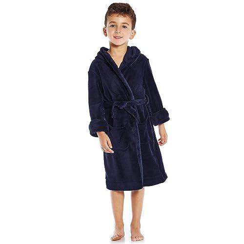 Dolcevida Girls Plush Bath Robe Solid Hooded Soft Fleece Bathrobe Nightgown for Girl