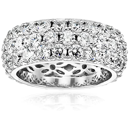 f8ce390492fbd Buy Platinum or Gold Plated 3-Row Round-Cut Pave Band Ring set with ...