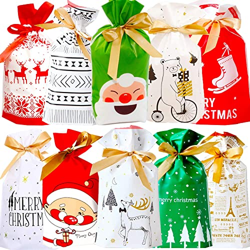GoHoKi Christmas Party Gift Bags 30 Pack Large Xmas Gift Bags Medium Tie Gift Bag Christmas Wrapping Gift Assorted Styles Party Bags with Ribbon Ties and 30 Pieces Present Tags Label