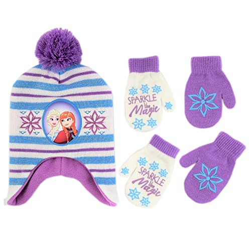 Disney Frozen Girls Winter Hat and Gloves Cold Weather Set Age 4-7