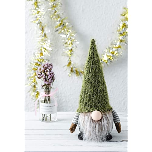 Funoasis Christmas Gnome Gifts Holiday Decoration Kids Birthday Present Handmade Tomte Plush Doll 8 inch Green Home Ornaments Tabletop Santa Figurines
