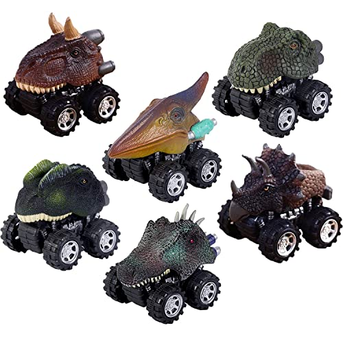 MOONBROOK Dinosaur Cars-Pull Back Dinosaur Vehicle Set Big Tire Wheel Vehicles Car Toy-Mini Pull Back Animal Car Toy for Boys Girls 7PACK