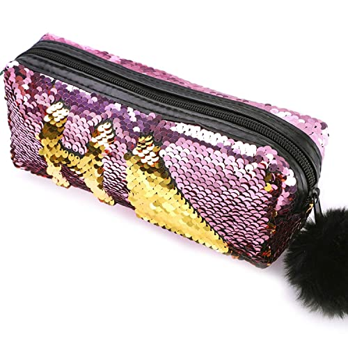 19b952f824b0 Phogary Glitter Cosmetic Bag Mermaid Spiral Reversible Sequins Portable  Double Color Students Pencil Case for Girls Women Handbag Purse Make Up  Pouch ...