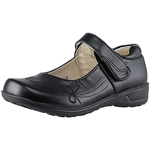 SKOEX Girls Mary Jane Front Bow School Uniform Shoes