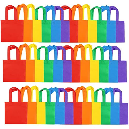 Aneco 25 Pack 10 x 10 Inch Non-woven Tote Bags Party Gift Bag Goodie Treat Bags Celebration & Occasion Supplies
