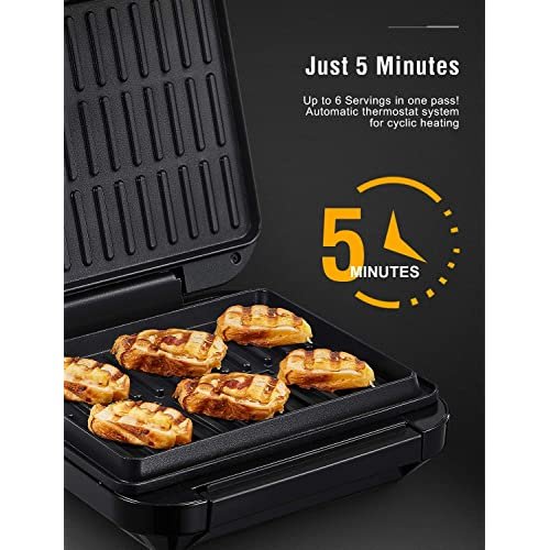 Sandwich Deik 1200W 6-Serving Electric Indoor Grill Steak Panini Press Nonstick Plates for Panini Grilled Burger Black Multi-Purpose Sandwich Maker Includes Removable Drip Tray /& Grill Spatula