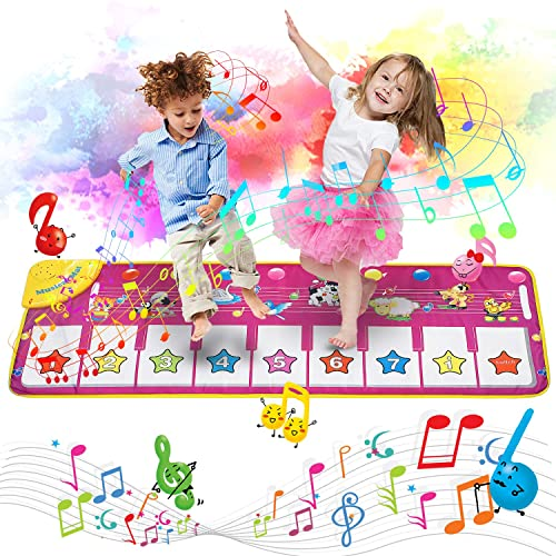 Gifts for 6-24 Month Old Boys Girls Piano Music Dance Mat With 19 Keys Piano Mat Toys for 1-6 Year Old Girls Boys Toddlers Infant Kids 8 Musical Instruments Build-in Speaker /& Recording Function