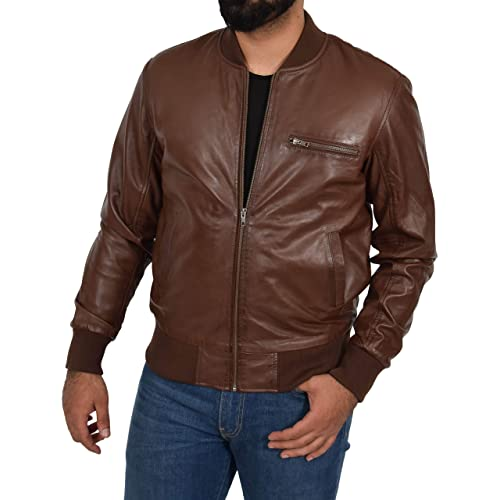 Mens Fully Quilted Leather Bomber Jacket Brown Padded Varsity Darren