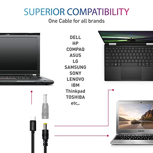 Black Retina 65W 3.4A USB Type-C Durable Fast Charging Cable Compatible with Galaxy Note10//Note10 Plus Air 2019 2018 2017 iPad Pro USB C to Multi-Tip Cable MacBook Pro 16