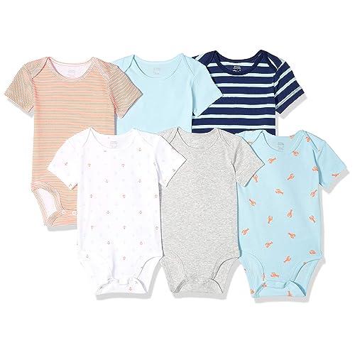 Baby Boys Girls 5 Pack Bodysuits EX UK Store Cotton Vests 0-36M Short Sleeve New