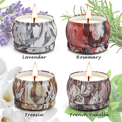 Natural Soy Wax Travel Tin Fragrance Gift for Valentines Day Birthday Mothers Day Bath Yoga Jasmine and Vanilla Glass Jar Candle Lavender Scented Candles Gifts Sets 12 Packs for Women for Mom