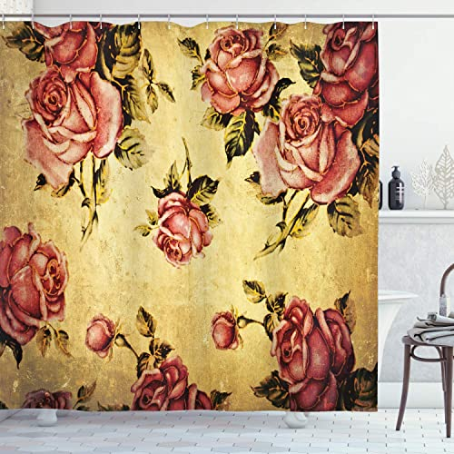 Cream Khaki 75 Inches Long Ambesonne Sugar Skull Decor Shower Curtain Skull and Roses Colorful Vintage Composition Smiling Gothic Face Artistic Fabric Bathroom Decor Set with Hooks