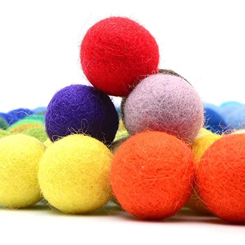 2 cm /& 2.5 cm 4 Sizes: 1 cm 1.5 cm 160 Pcs Handmade Felted 40 Color Wool Balls Red, Pink, Blue, Yellow, White, Pastel /& More Glaciart One Felt Pom Poms ,Bulk Small Puff for Felting /& Garland