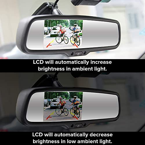 Universal Fit Master Tailgaters OEM Rear View Mirror with 4.3 Auto Adjusting Ultra Bright LCD Auto Dimming Mirror