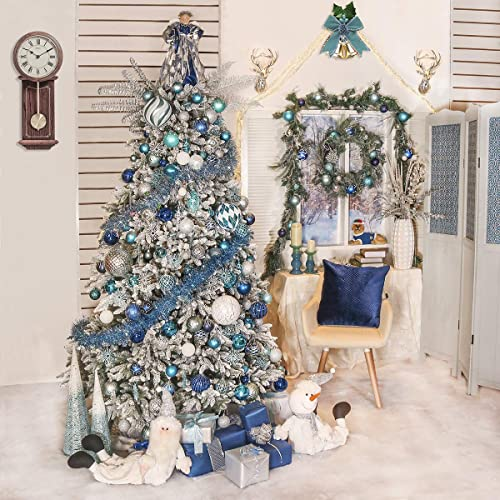 Christmas Ball Ornaments and Snowflake Battery Operated 20 LED Lights Valery Madelyn Pre-Lit 6 Feet Winter Wishes Blue Silver Christmas Garland with Artificial Greenery Frosted Spruce