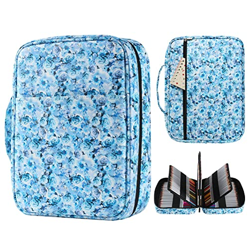 Blue Colorpockit Complete Portable Travel Postcard Coloring Kit Art Set with Colored Pencils and Built-in Pencil Sharpener for Fun and Relaxation.