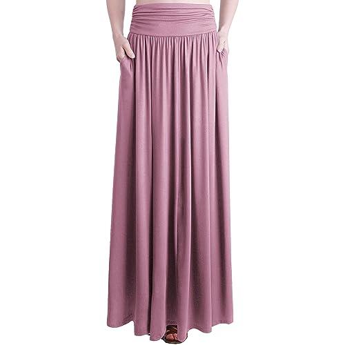 2b00119edb3529 Buy TRENDY UNITED Women's Rayon Spandex High Waist Shirring Maxi Skirt with  Pockets with Ubuy Kuwait. B01C3BBT30