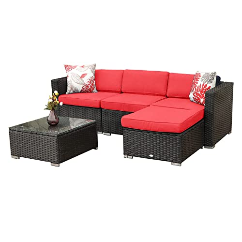 Pamapic Outdoor 5 Pieces Patio Furniture Sets【Chaise Longue】 Wicker Rattan Conversation Set with Tempered Glass Coffee Table /…
