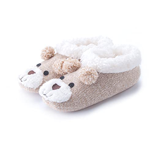 4-5 /& 6-7 Ladies Cute Deer Premium Knit /& Fleece Ballet Slippers In Sizes 3-4