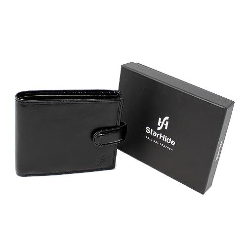 Starhide Mens RFID Real Leather Wallet ID Window Coin Pocket 835 Black//Brown