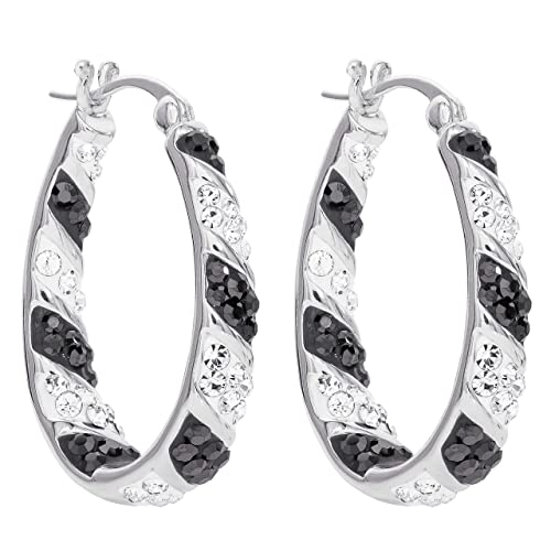 Crystal Inside Out Hoops Hoop Earrings for Women Round Pink /& White Silvertone