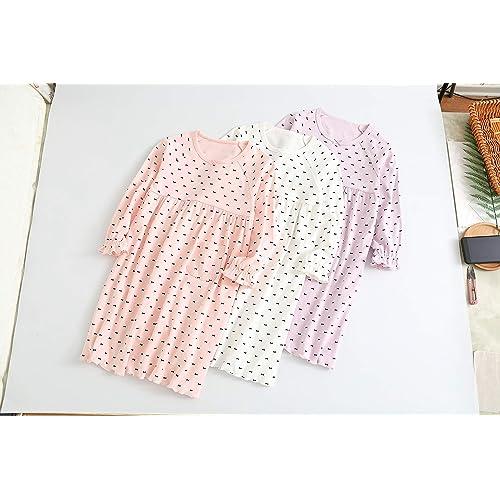 BLOMDES Girls Polka Dots Nightgowns Bowknot Sleepwear Cotton Nightie for 3-12 Years