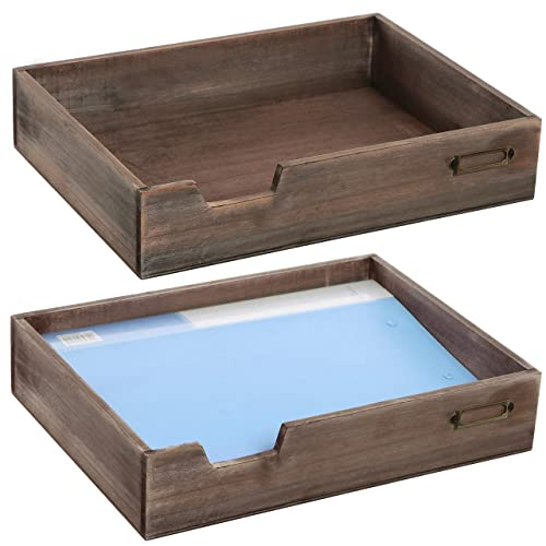   Desk Paper Tray for Files and Documents HumanCentric Wood Letter Tray Black Walnut Inbox Tray for Office