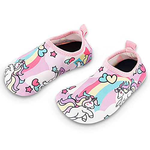 Fortunings JDS Kids Swim Water Shoes Quick Dry Aqua Socks Non-Slip Barefoot Swim Shoes for Boys Girls Toddler Swimming Outdoor Sports