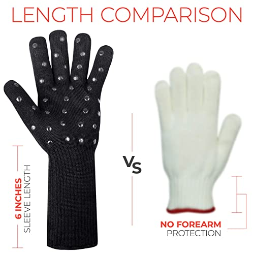 Black EKOWOT Grill BBQ Gloves Extreme Heat Resistant /& Non-Slip Silicone Grip Cut Resistant Gloves Oven Mitts Potholder Perfect for Barbecue Grilling Cutting Cooking Baking Frying Outdoor Indoor