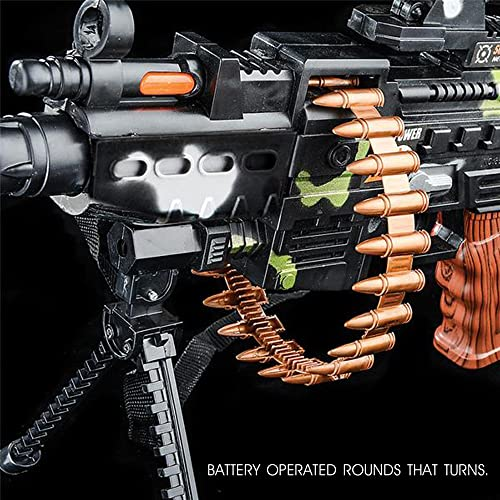 Stand and Carrying Strap Flashing Lights Sounds Camo Toy Machine Gun with Scope