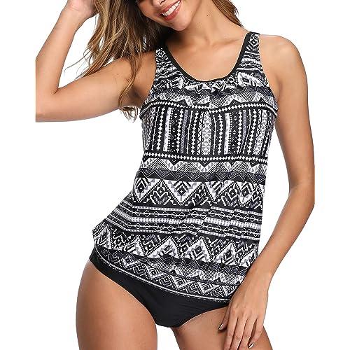 Tempt Me Swimming Costume for Women Tankini/Sets V/Neck Tankini Top Swimwear/Geometric/Printed/Swimsuits