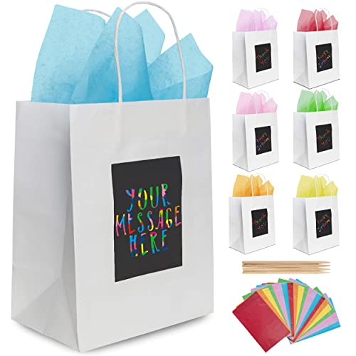 Cooraby 18 Pieces Bronzing Gold Paper Party Bag Kids Birthday Gift Bag Kraft Paper Bags Bride Hen Party Bags with Handle for Party Favor