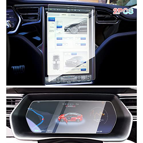 Tesla Model X//S Central Control LCD Instrument Protective Film Tempered Glass Screen Protector 9H Anti-Scratch Anti Fingerprint Bubble Free No Glare