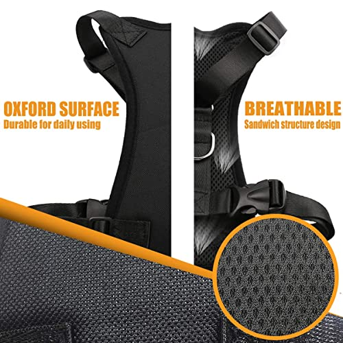 Musonic Dog Safety Vest Harness with Safety Belt for Most Car Travel Strap Vest with Car Seat Belt Lead Adjustable Lightweight and Comfortable Black for Small Medium Large Dogs