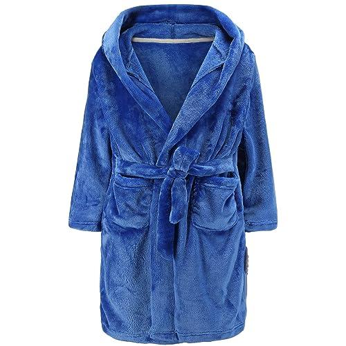 Length-23.6 BAOPTEIL Toddler Cotton Bathrobe Baby Boy Girl Dinosaur Hooded Bath Towel Robe for Kids Green, 3-5T//
