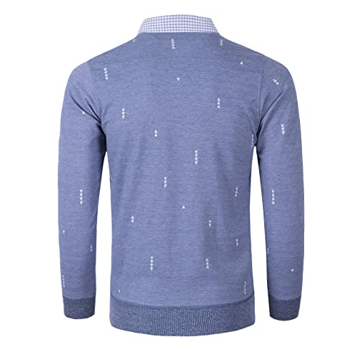 Yingqible Mens Casual Sweater Jumper Top Slim Fit Knitted Long Sleeve Pullover Jumpers with Mock Shirt Collar Insert