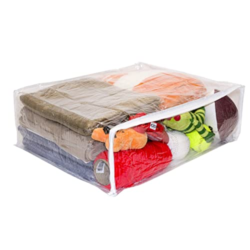 """Clear Vinyl Zippered Storage Bags 22/"""" x 18/"""" x 11.5/"""" 5-Pack Pocket and Handle"""