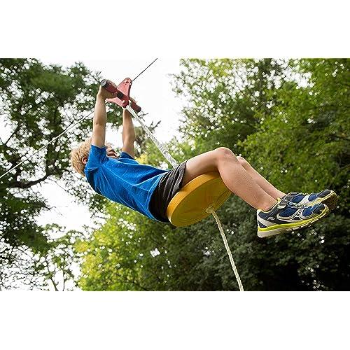 80ft Hi-Na Zip Line Kit 80ft 100ft 120ft Zipline Kits for Backyard Kids Play Set Zipline with Seat Handles Ziplines for Backyards Zipline 100 Foot Zip Line Kit Zip Line Play Set Zipline for Kids
